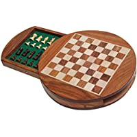 Best Chess 9 Inches Wooden Octagon Delux Magnetic Chess Set with Chess Pieces (Brown)