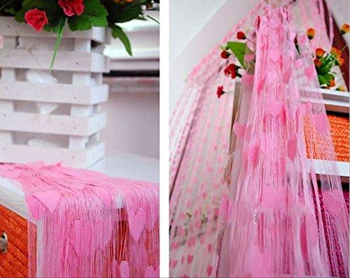ハート が揺れる かわいい ストリング カーテン コード スクリーン (ピンク) LaLaPanda