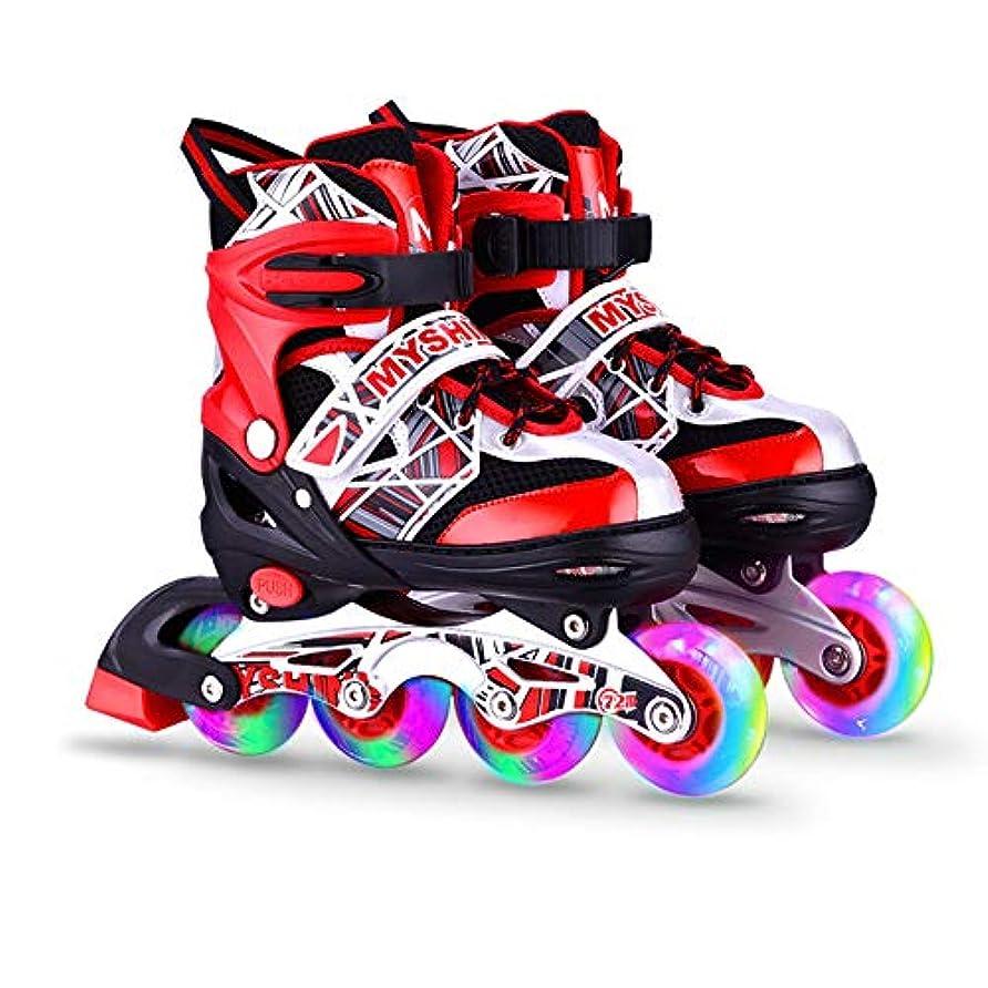 インポート規模北極圏子供と大人のための調整可能なインラインスケート、女の子と男の子のためのすべてのイルミネーションホイールを備えたローラーブレード (色 : 赤, サイズ : 28-32)