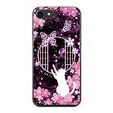 PLUS-S iPhoneXS ケース 猫 ファンタジー ゴシック 【07.夜桜と蝶と猫】 ハード カバー クリア オリジナルデザイン