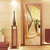 Xbwy 写真の壁紙3Dゴールデン階段壁画ホテルのリビングルームのドアのステッカーモダン空間拡張Pvcウォールペーパー-350X250Cm