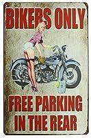 スミク・バイカーズリア・オートバイ・ガール、メタル・ティンサイン、ビンテージ・アートポスターの無料駐車場プラーク・ガレージ・ホームウォール・デコレーション