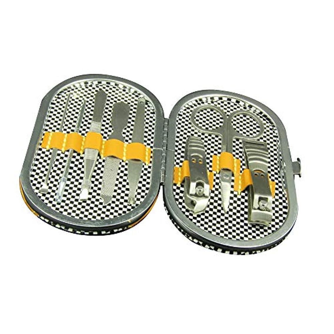貫通オール結晶ステンレス爪切りセット美容ネイルツールセット携帯便利 収納ケース付き、8点セット