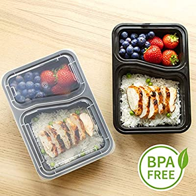 [10 Pack] 2 Compartment BPA Free Reusable Meal Prep Containers | Plastic Food Storage Trays with Airtight Lids | Microwavable, Freezer & Dishwasher Safe | Stackable Bento Lunch Box Sets