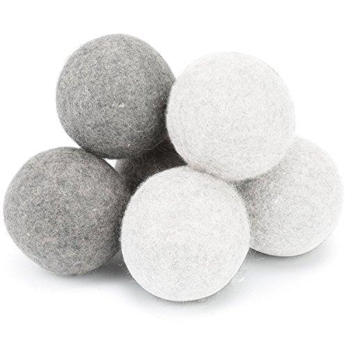 ドライヤーボール Umitech 乾燥機用 ウールボール ニュージーランド製天然羊毛100% 洗濯ボール 特大サイズ(7cm)静電気防止 乾燥の時間を短縮できる 6個入り (3ホワイト 3グレー)