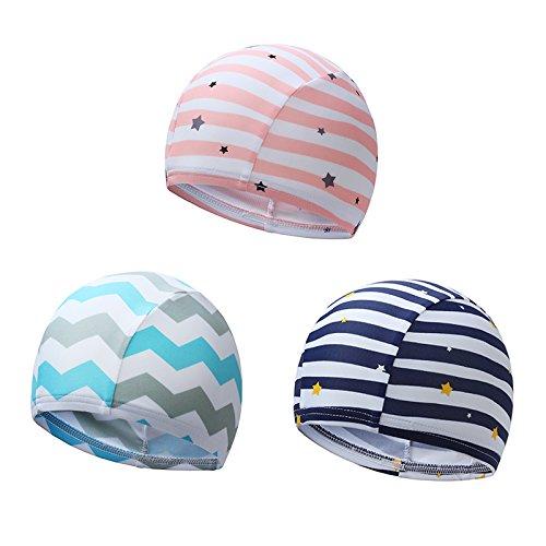 正規品最新スイムキャップ男児女児スイムキッズスクール水着UVカットスイミング帽子(ライトブルー)