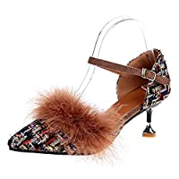 Fashion maker(F&M) パンプス レディース ヒール ポインテッドトゥ ストライプ チェック柄 ファー付き おしゃれ パーティー 結婚式 美脚 全2色 大きいサイズ (22.5cm(FR35), ブラウン)