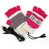 冷え性対策 USB 手袋 2Way ハンドウォーマー ウール素材 あったか 暖房 グッズ 【選べるカラー】 男女兼用 フリーサイズ (ノルディッグ柄ピンク×グレー)