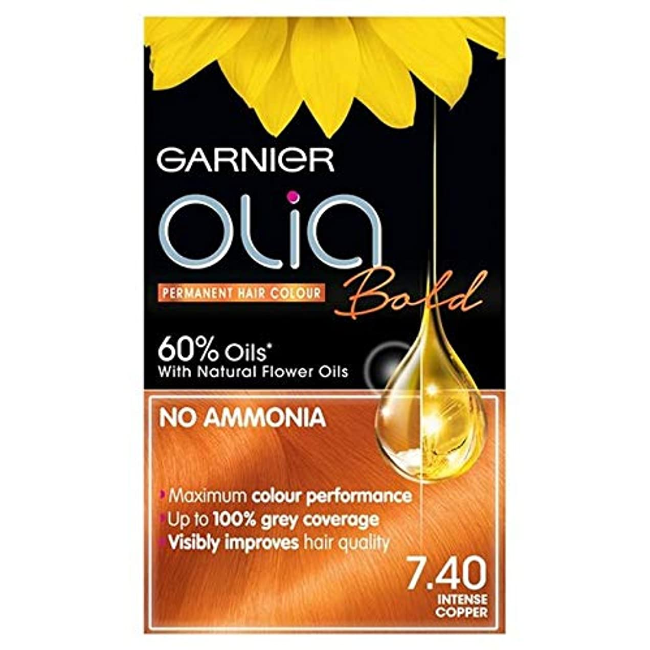 笑いパターン暗殺[Garnier ] 7.40強烈銅永久染毛剤Oliaガルニエ - Garnier Olia 7.40 Intense Copper Permanent Hair Dye [並行輸入品]