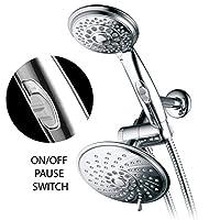 HotelSpa シャワーヘッド/手持ち式シャワースパイラルコンボ 6フィート/4フィート 特許取得済みのオン/オフ停止スイッチ付き 5~7フィートの伸縮可能なステンレススチールホース(プレミアムクロム)