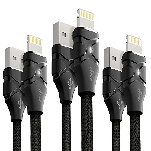 ライトニングケーブル 【3本セット】1.2m+1.2m+1.8m Aimus LEDライト付き 高耐久 iPhone lightning ケーブル USB充電 iPhoneX/ 8 / 8 Plus / 7 / 7 Plus / 6s plus / 6s 対応 ブラック