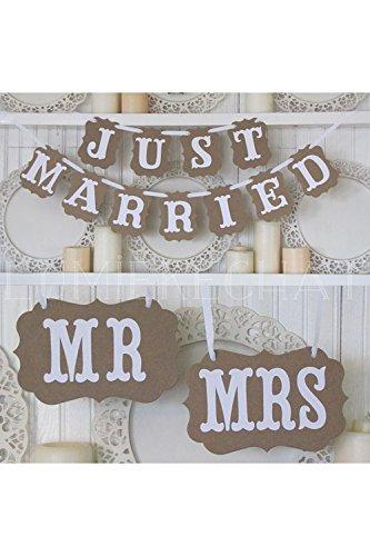 Lumierechat ヴィンテージ風 結婚式 撮影用 装飾用 ガーランド チェアサイン セット (Beige)