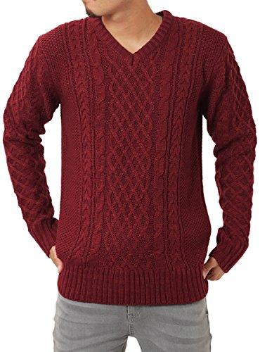JIGGYS SHOP (ジギーズショップ) ニット セーター メンズ Vネック ケーブル編み 厚手 長袖 防寒 ボーダー アメカジ XL B ミックスワイン