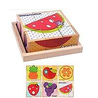 幼児教育パズル3Dビルディングブロック3次元パズルグッズ9タブレットニレ六面絵1-2-3歳の男の赤ちゃん (フルーツ部門)