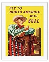 北米に飛びます - BOACと(英国海外航空株式会社) - ビンテージな航空会社のポスター によって作成された ヘイズ c.1953 - キャンバスアート - 51cm x 66cm キャンバスアート(ロール)