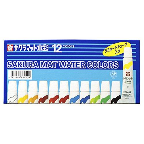サクラクレパス 絵の具 マット水彩 ラミネートチューブ 12色セット EMW12