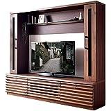 タンスのゲン 壁面テレビ台 幅180cm 天然木 壁面収納 テレビボード 無垢材 フラップ扉 フルオープン 71020054 00