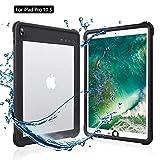 iPad Pro 10.5 防水ケース アイパッドカバー10.5インチIP68防水規格 耐衝撃 軽量 薄型 水場 全面保護 タブレットケース 安心感 ストラップ付き アウトドア キッチン プールiPad pro 10.5 (ブラック+透明)