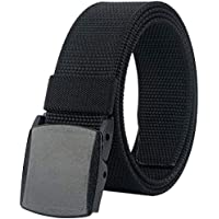 "Belts for Men,Nylon Tactical Belt with YKK Plastic Buckle, Durable Breathable Fabric Waist Belt for Work Outdoor Golf Hiking Skiing,Adjustable for Pants Size Below 46inches[53""Long1.5""Wide]"