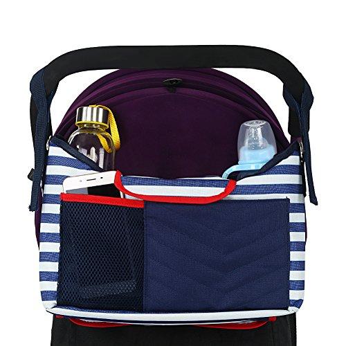 ベビーカー用バッグ+おむつ詰替マット付き ベビーカー ドリンク ホルダー ポケット オーガナイザー 大容量 多機能小物入れ 持ち運び便利