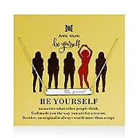 Annis Munn 925スターリングシルバー バーペンダントネックレス 「Be Yourself (Be Yourself)」と刻印 インスピレーションを与えるチャーム クリスマスジュエリー 誕生日プレゼント ガールズ&レディース
