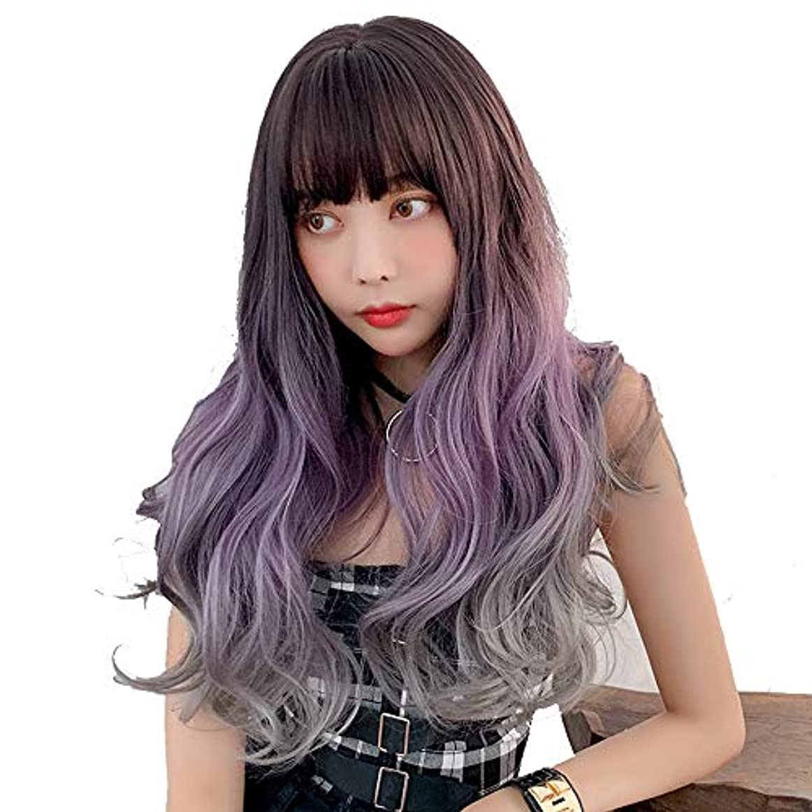 SRY-Wigファッション レディースパープルヘアウィッグ用25インチ合成ショートナチュラルウェーブウィッグ女性用耐熱ファイバー