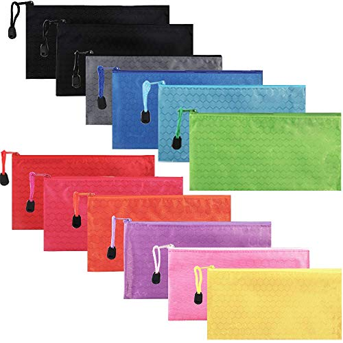 TIMESETL ジッパー式 ファイル袋 A6ポーチ 防水 事務用品 書類 資料 化粧品収納 旅行アクセサリー 12個入り