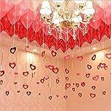 300個 風船 スーツ 結婚式 ハートチャーム 飾り 記念日 パーティーデコレーション 写真背景 バレンタイン ウェディング 飾り付け セット バルーン (赤 チャーム)