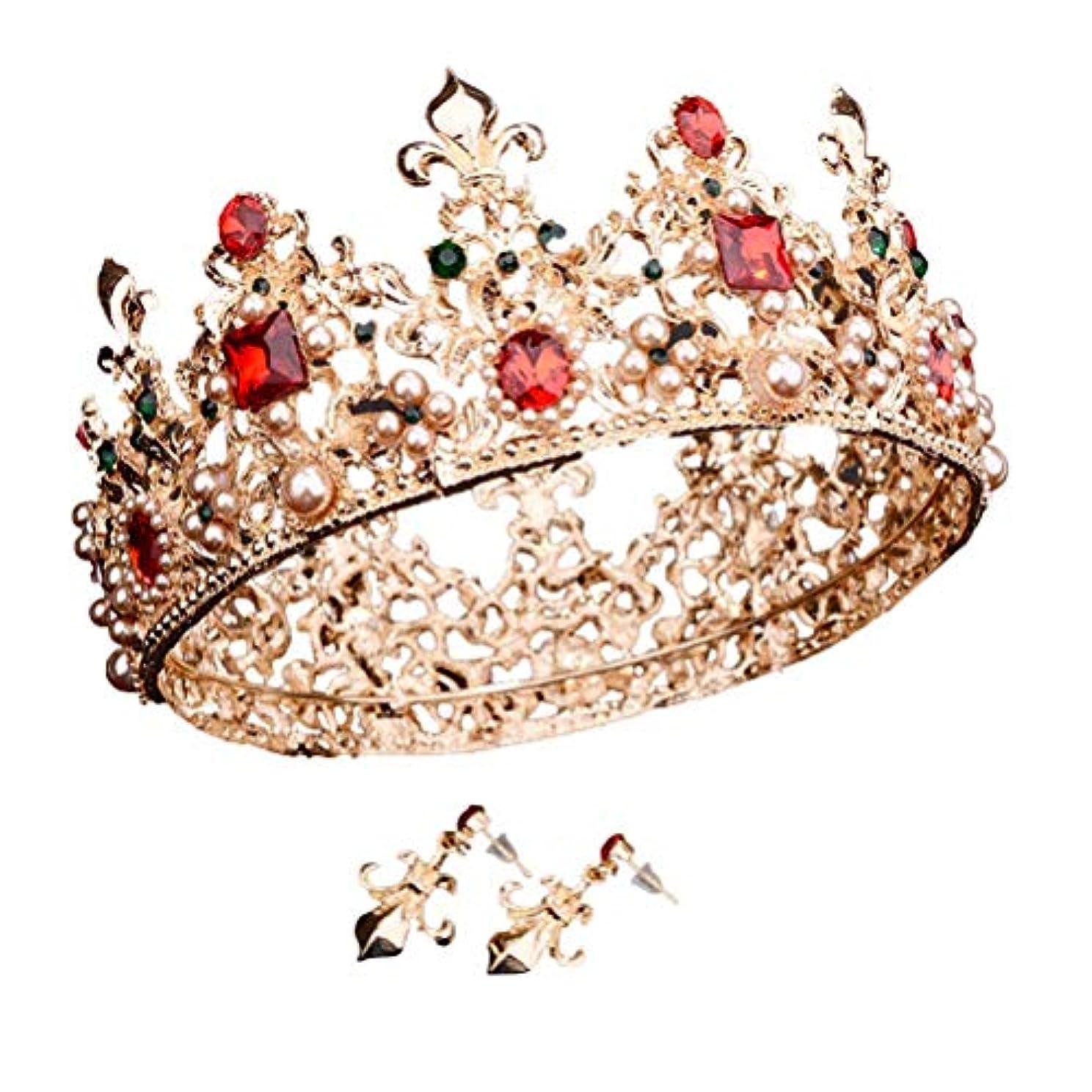 破壊的な最後の政策Beaupretty 女性のためのバロック女王クラウンラインストーンの結婚式の冠とティアライヤリング付きヘアアクセサリー結婚式のかぶと