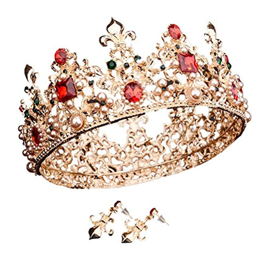 かんがいロッドステップBeaupretty 女性のためのバロック女王クラウンラインストーンの結婚式の冠とティアライヤリング付きヘアアクセサリー結婚式のかぶと