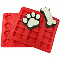 Xmowes、15ホールのミニ14ピンミニ犬の骨犬はシリカゲルを足跡、一緒に2、ビスケットデザートトレイ折りたたみ式の金型DIYケーキ金型オーブン皿