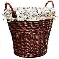 ポータブルラタンランドリーバスケットコットンライニング汚れたハンパーの服雑貨のストレージバスケット (色 : ダークブラウン, サイズ さいず : 42 * 48cm)