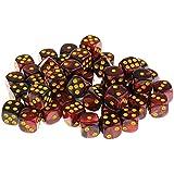 B Baosity 約50個 アクリル ダイス サイコロ 骰子 ボードゲーム用 全9選択 - ブラックレッド