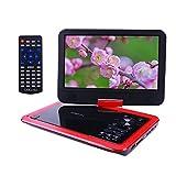 COOAU ポータブル DVD プレーヤー 10インチ CPRM対応 高画質 大きい画面 270°回転可能 SDカード USB対応 車載用 シガー ソケット用 電源ケーブル 付メーカー1年保証 (赤)