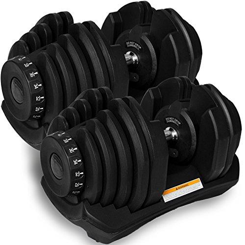 MRG 可変式 ダンベル 40kg 2個セット アジャスタブルダンベル 5~40kg 17段階調節 可変ダンベル [1年保証] (ブラック)