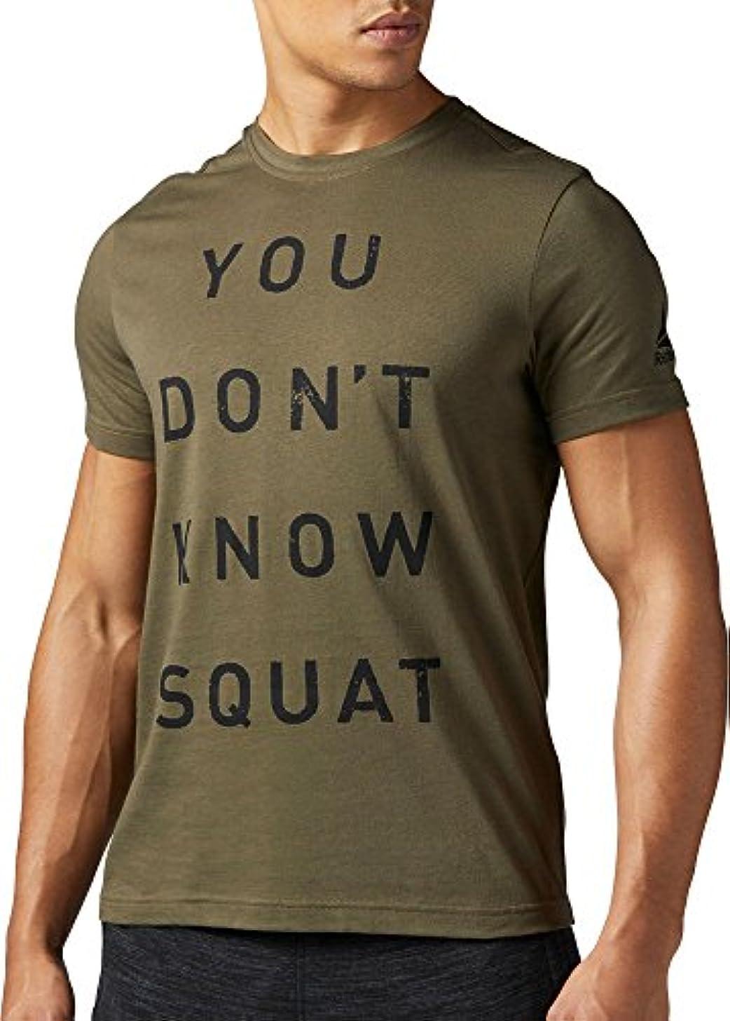 説教デマンドオールリーボック トップス シャツ Reebok Men's You Don't Know Squat Graphi ArmyGreen [並行輸入品]