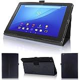 wisers 保護フィルム・OTGケーブル・タッチペン付 Sony Xperia Z4 Tablet SGP712JP SO-05G SOT31 タブレット 専用 ケース カバー ブラック