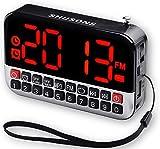 SHUSONS USB 充電式 多機能 ポケット FMラジオ LED時計 目覚まし時計 ストラップアンテナ付き MP3プレーヤー USBメモリー&MicroSDカード対応(シルバー)