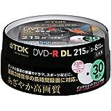 TDK 録画用DVD-R DL(片面2層) CPRM対応 8倍速対応 インクジェットプリンタ対応(ホワイト・ワイドディスク) 30枚スピンドル DR215DPWB30PS