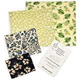 Beeswax Food Wraps by Ozzie Journey | Reusable, Eco Friendly Alternative | 4 Pack (S, M, L, XL) | 100% Cotton and All Natural Ingredients | Sustainable, Environmentally Friendly | Great For Kids School Lunches and Covering Food in Containers