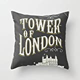 クッションカバー タワー・オブ・ロンドン・イングランドヴィンテージポスター