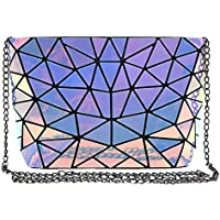 ZLMBAGUS Fashion Hologram Laser Envelope Clutch Geometric Pattern Metal Chain Shoulder Crossbody Bag