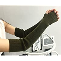 Eforstore Cashmere Arm Sleeves Female Autumn and Winter Long Fingerless Half Finger Gloves Thick Warm Wool Thread Sleeves