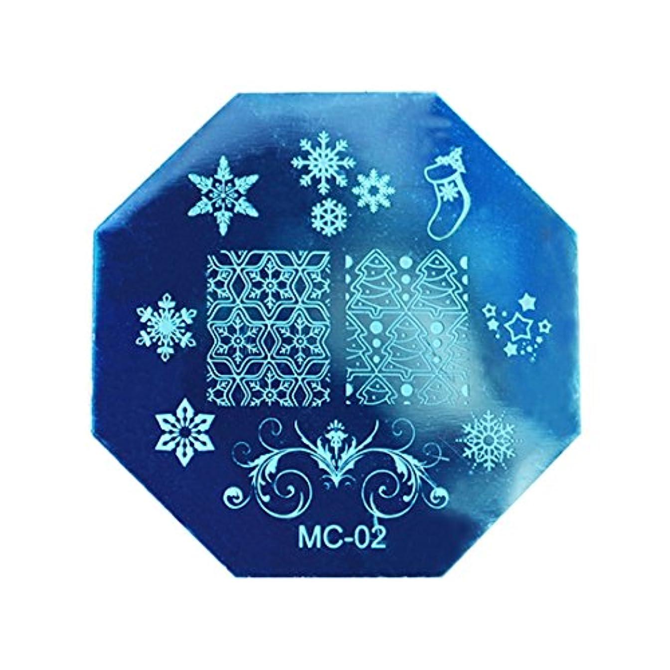 異形死すべきマーカーRETYLY クリスマスDIYイメージスタンピングプレートマニキュアモデル ネイルアートプレート(MC-02)