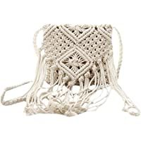 Van Caro Women Crochet Beach Bag Fringed Crossbody Purse Cotton Pouch