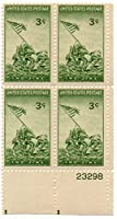BATTLE OF IWO JIMA 929 Plate Block of 4 x 3 cents US Postage Stamps