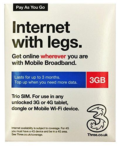 Threeデータ通信専用プリペイドSIM3GBタイプ最大90日間有効