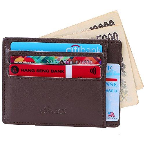 Kinzd® 小さい財布多カードポケット メンズ薄型本革財布 カードと紙幣収納 RFIDブロッキング (コーヒー色)