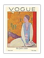 ヴォーグマガジン - 1925年10月 - パリのファッション - ヴィンテージマガジンカバー によって作成された ジョルジュ・ルパプ c.1925 - アートポスター - 51cm x 66cm