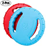Rubber Dog Frisbee,Tough Training Flying Disc Play Toy for Dog to See-8inch Large-Color Blue/Red(2 Pack)